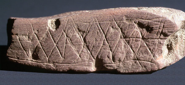 Engravings on ochre from Blombos Cave